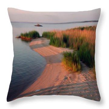 Throw Pillow featuring the digital art Sunset Beach by Kelvin Booker