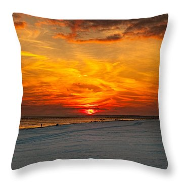 Throw Pillow featuring the photograph Sunset Beach New York by Chris Lord