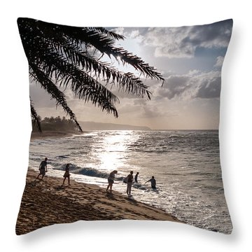 Sunset Beach Park Throw Pillow