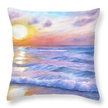 Sunset Beach Hawaii Seascape  Throw Pillow