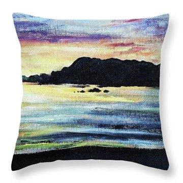 Throw Pillow featuring the painting Sunset Beach by Shana Rowe Jackson