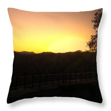 Throw Pillow featuring the photograph Sunset Behind Hills by Jonny D