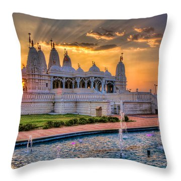 Sunset Behind The Mandir Throw Pillow