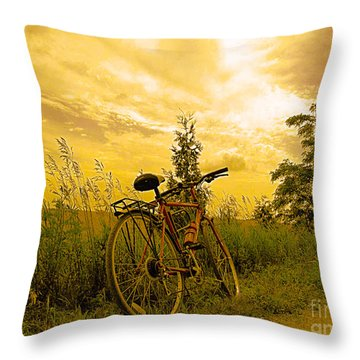 Sunset Biking Throw Pillow
