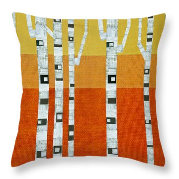 Sunset Birches Throw Pillow