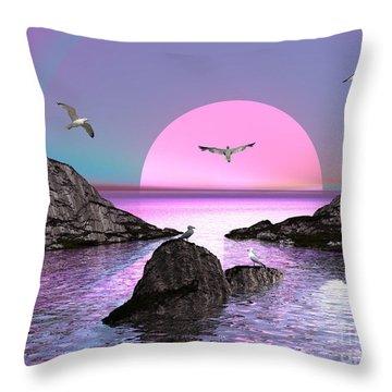 Sunset Birds In Flight Throw Pillow by Jacqueline Lloyd