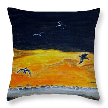 Sunset Birds Throw Pillow by Sonali Gangane