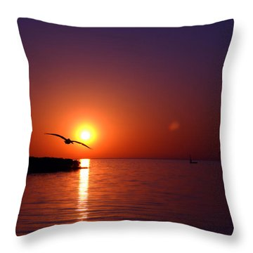 Sunset Blue Throw Pillow by Beverly Stapleton