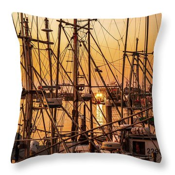Sunset Boat Masts At Dock Morro Bay Marina Fine Art Photography Print Sale Throw Pillow by Jerry Cowart
