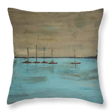 Throw Pillow featuring the painting Sunset Boats by Ben Gertsberg