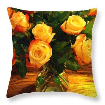 Sunset Bouquet Throw Pillow