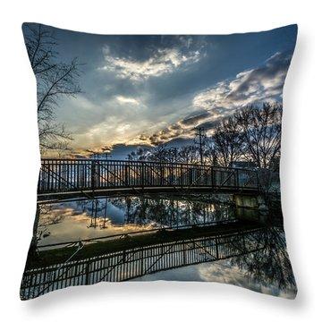 Sunset Bridge 2 Throw Pillow by Randy Scherkenbach