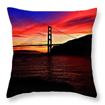 Throw Pillow featuring the photograph Sunset By The Bay by Dave Files