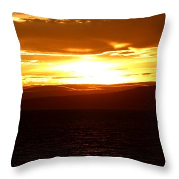 Sunset By The Fjord Throw Pillow
