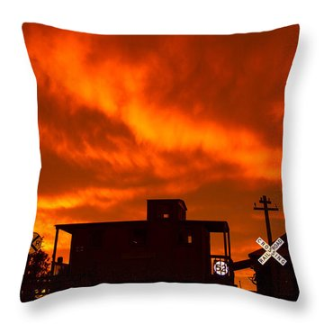 Sunset Caboose Throw Pillow
