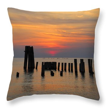 Sunset Cape Charles Throw Pillow by Richard Reeve