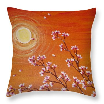 Sunset Cherry Blossoms Throw Pillow by Angie Butler
