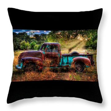 Sunset Chevy Pickup Throw Pillow by Ken Smith