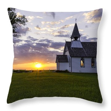 Sunset Church Throw Pillow