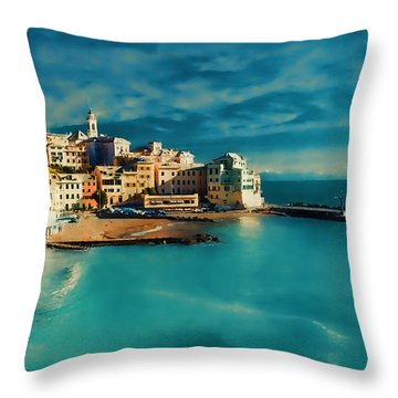 Throw Pillow featuring the painting Sunset Cinque Terre by Douglas MooreZart