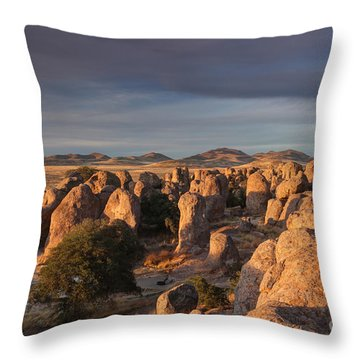Throw Pillow featuring the photograph Sunset City Of Rocks by Martin Konopacki