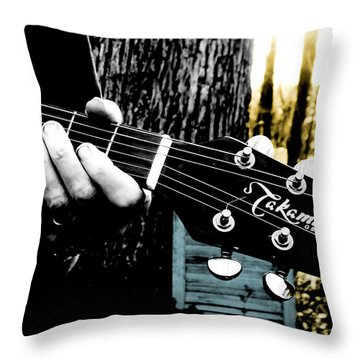 Sunset Country Pickin Throw Pillow by Kristie  Bonnewell