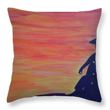 Sunset Cowboy Throw Pillow by Judi Goodwin
