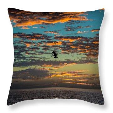 Sunset Dive Throw Pillow