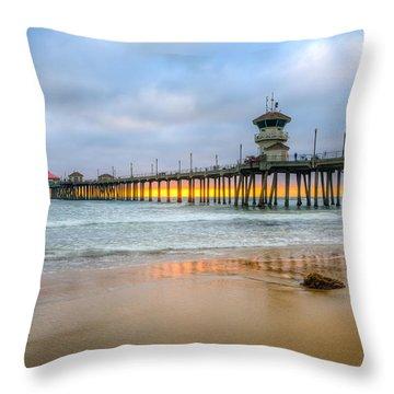 Sunset Drifting Under The Pier Throw Pillow