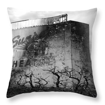 Sunset Drive-in Throw Pillow by Tarey Potter