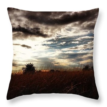 #sunset #dusk #landscape #rural #sky Throw Pillow by Vicki Field