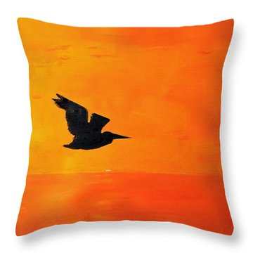 Sunset Egret Throw Pillow
