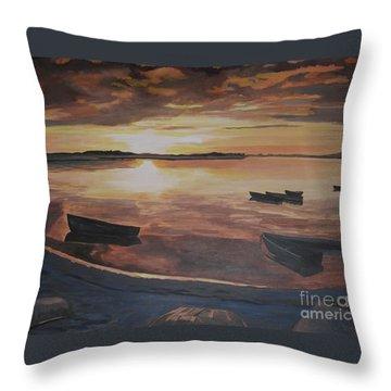 Sunset Evening Tide Throw Pillow