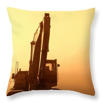 Sunset Excavator Throw Pillow by Olivier Le Queinec