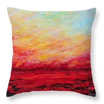 Sunset Fiery Throw Pillow by Teresa Wegrzyn