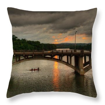 Sunset Fighting Through Throw Pillow by Dave Files