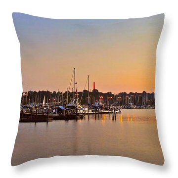 Sunset Fishing Throw Pillow by Frozen in Time Fine Art Photography