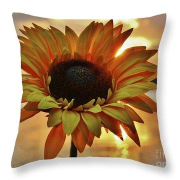 Sunset Flower Throw Pillow