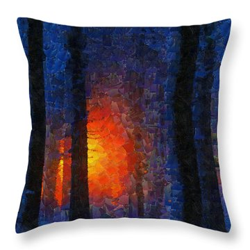 Sunset Forest Winter Throw Pillow by Georgi Dimitrov