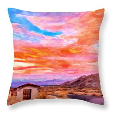 Sunset From Palm Canyon Throw Pillow by Michael Pickett