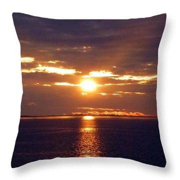 Sunset From Peace River Bridge Throw Pillow by Barbie Corbett-Newmin