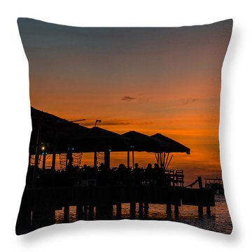 Sunset From Pelican Pier Throw Pillow by Judy Wolinsky