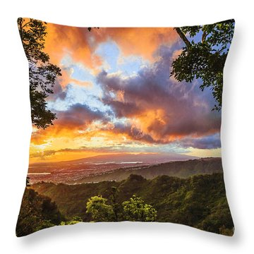 Sunset From Tantalus Oahu  Throw Pillow by Aloha Art