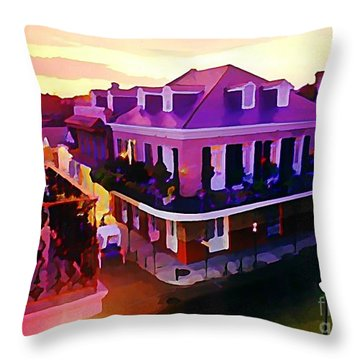 Sunset From The Balcony In The French Quarter Of New Orleans Throw Pillow by John Malone