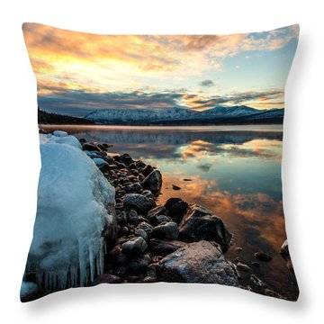 Throw Pillow featuring the photograph Sunset Frozen by Aaron Aldrich