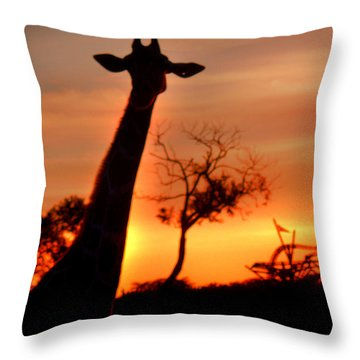 Sunset Giraffe Throw Pillow