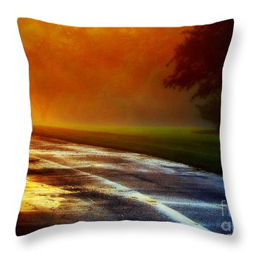 Sunset Glint In The Mist Throw Pillow