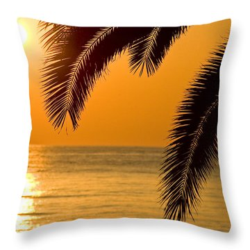 Sunset Golden Color With Palm Throw Pillow