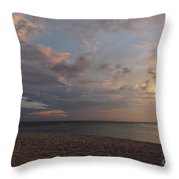 Sunset Grand Cayman Throw Pillow by Peggy Hughes