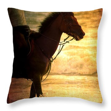 Sunset Horse Throw Pillow by Loriental Photography